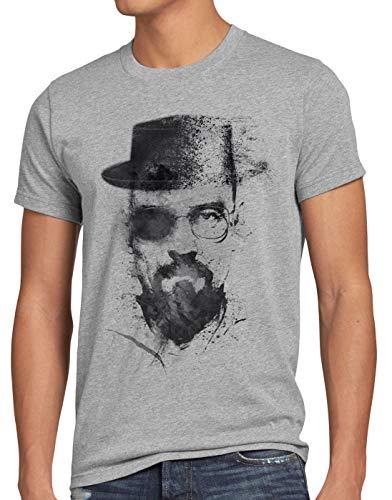 style3 Walter Crystal T-Shirt Herren Meth White tv Serie, Größe:L, Farbe:Grau meliert
