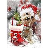 LANSUER - Kit de pintura con diamantes de imitación 5D para manualidades y decoración de pared para cachorros con un disfraz de Navidad de 30 x 39 cm