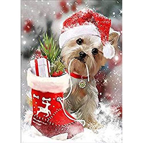 Lazodaer Kit de pintura de diamante 5D para manualidades con pintura de diamante para adultos para decoración de arte en el hogar, cachorro, con un disfraz de Navidad de 30 x 39,9 cm