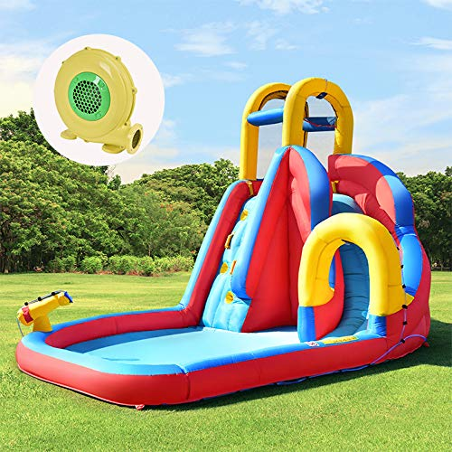 COSTWAY Kids Inflatable Bouncy Castle House Bouncer Water Park with Water Slide, Water Gun, Climbing Wall and Pool Area, for Garden Outdoor(Type 2 Bouncy Castle + 450W Blower)