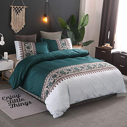 Langde Vintage Bedding Ethnic Duvet Cover Set with 2 Pillowcases, Flowers Pattern Printed Solid Plain Duvet Case Set, Elegant Teal Exotic Bed Set for Hotel Home - King, Green