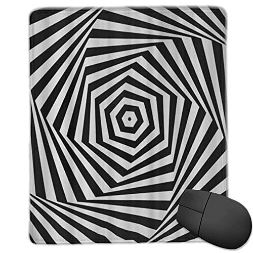 ALLMILL Alfombrilla Raton Remolinos en Blanco y Negro Hexagonal Twist Rayas abstractas Alfombrilla Gaming Alfombrilla para computadora con Base de Goma Antideslizante,250×300×3mm