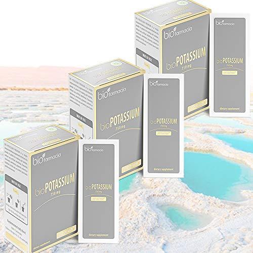 Citrato de potasio natural 750 mg | Extraído del Mar Muerto | Sin OMG y 100% vegano | para la función adecuada del cuerpo | Suplemento dietético premium - Pack of 3