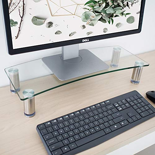 Goldline Monitor Riser and Monitor Stand Ergonomic Height Adjustable, Save Space Tabletop TV Stand for Xbox One/Component/Flat Screen TV 700 mm (Large-Clear)