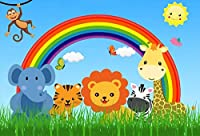 Qinunipotoビニール3mx2m漫画の動物写真の背景子供のためのサファリ動物空雲虹緑の芝生の背景子供誕生日パーティーベビーシャワーバナーフォトスタジオの小道具