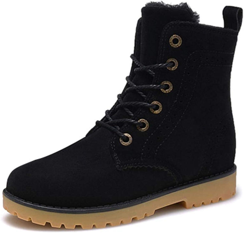 ZHRUI Men Boots Winter Snow Warm Casual shoes Leather Plush Fur Fashion Unisex Boots (color   Black, Size   9 UK)
