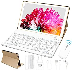 Tablet 10 Pulgadas FACETEL Q3 Android 10.0 4GB de RAM y 64 GB de ROM,5MP 8MP Cámara Tablet PC,Certificación Google GMS - Octa Core | 8000mAh | WiFi | GPS | Bluetooth | Type-C-Oro