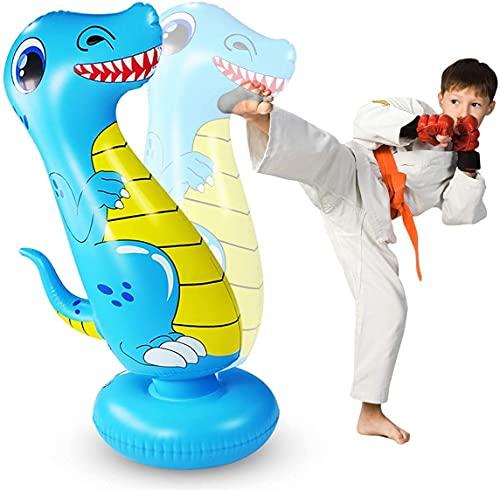 LEOHOME Boxsack Kinder, 120cm Aufblasbarer Boxsack für Kinder Freistehender Standboxsäcke Bounce Back Dinosaur Boxspielzeug zum Üben von Karate, Taekwondo, MMA