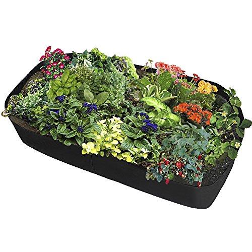 LAMF - Borse da giardino rialzate in tessuto, per piante, fiori, ortaggi, giardino, piante, piante, piante, aiuole, rettangolari (0,9 m x 1,8 m)