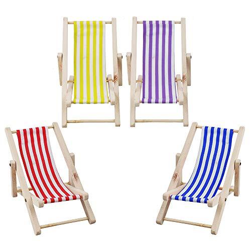 Aipaide 4 Stück Miniatur Strandstuhl,1:12 Hölzerner Faltbarer Liegestuhl, Mini Deko Strand Stuhl Stoffsitz,11*6.5cm