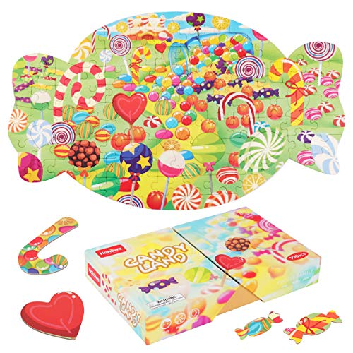 Rompecabezas para niños, JFIEEI Puzzles para niños de 2 a 8 años, Rompecabezas de Papel de 100 Piezas, Rompecabezas educativos de Aprendizaje para niños y niñas (20,75 x 12,17 Pulgadas) (Candy Land)