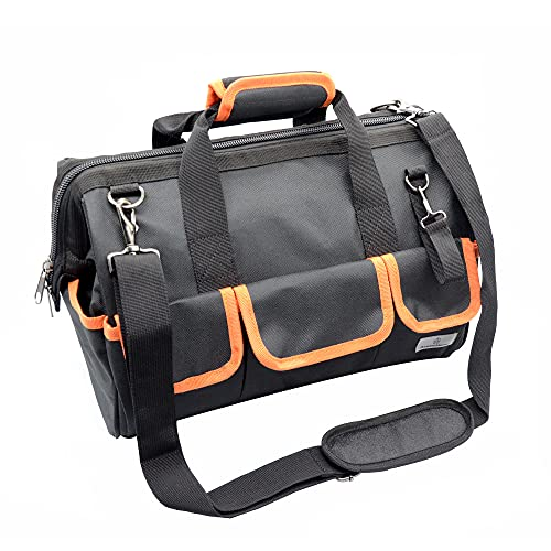 17-Inch Tool Bag Wide Mouth Tool Tote Bag Pockets for Tool Storage with Zipper Inside Orange