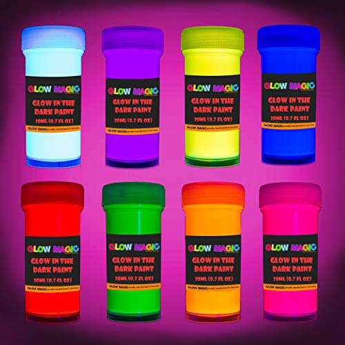 individuall Glow in The Dark Acrylic Paint Set - Self-Luminous Phosphorescent Glowing Neon Paint