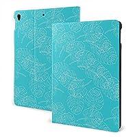 "iPad Air3 10.5"" ケース 手帳型 高級PUレザーケース 全面保護 耐衝撃 傷防止 多角度調整 ザー オートスリープ&スタンド機能付き(ヤシの葉 水色)"