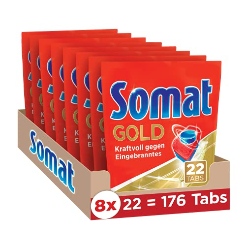 Somat Gold, Spülmaschinentabs, Jahresvorrat, 176 (8 x 22) Tabs, Extra-Kraft gegen Eingebranntes und Glanz-Effekt