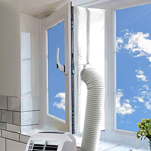 AC Window Seal,Portable Universal Window Kit for Mobile Air Conditioner Unit and Tumble Dryer 400cm/158Inch,Hot Air Stop Air Exchange Guards with Zip and Adhesive Fastener