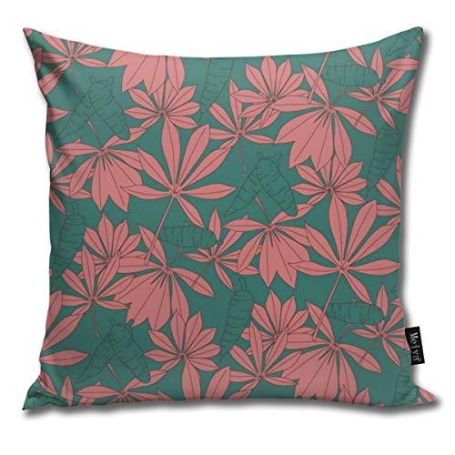 Kissenhülle, Cassava Pflanzen-Blätter, dekorativer Kissenbezug für Zimmer, Schlafzimmer, Zimmer, Sofa, Stuhl, Auto, 50,8 x 50,8 cm