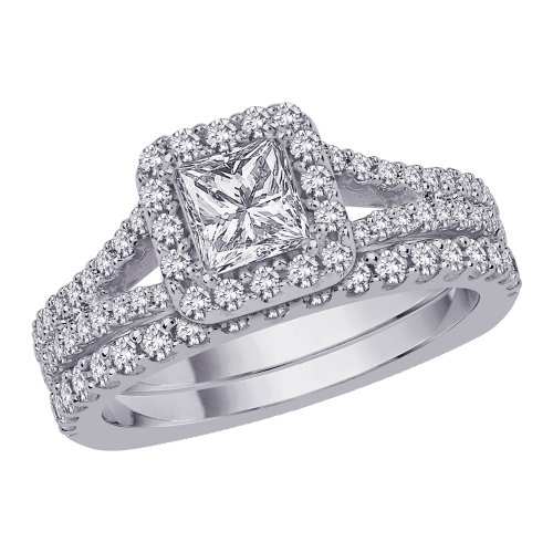 Halo Diamond Engagement set con taglio Princess Center diamante in oro bianco 14 K (1 1/2 Cttw)