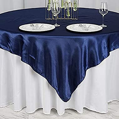 BalsaCircle 5 pcs 72x72 inch Navy Blue Square Tablecloth Satin Table Overlays Linens for Wedding Table Cloth Party Reception