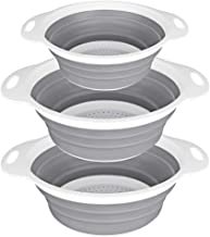 QiMH Collapsible Colander and Strainer Set of 3-2 PC 4 Quart(1 gal) and 1 PC 2 Quart(0.5 gal) - BPA Free & Dishwasher-safe...