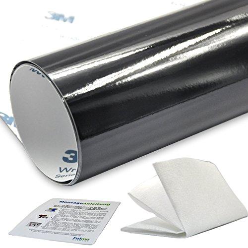 43,84€/m² Auto Folie 3M 1080-G12 Glanz Schwarz Streifen + ultrafeines Microfasertuch in Premium Qualität