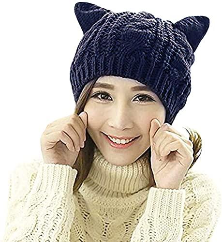 CICILIAYA Strickmütze mit Katzenohren, Katzen Ohr Mütze Hut Süße Katze Winter Strickmütze für Damen Mädchen Warme Strickmütze gestrickte Beanie Mütze mit Katzenohren für Damen, Teenager (Marineblau)