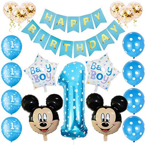 Mickey Luftballons, Mickey 1st Birthday Themed Party Supplies, Mickey Party Mouse Luftballons, Gehören Konfetti, Banner, Nummer 1 Folienballons Motto Birthday Party Dekorationen (Blau)