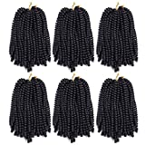 6 Pack Roktress Spring Twist Crochet Braiding Hair 8 Inch Bomb Twist Crochet Braids Ombre Colors Low Temperature Kanekalon Synthetic Fluffy Hair Extensions 15 Strands 55g/Pack (8inches, 1B#)