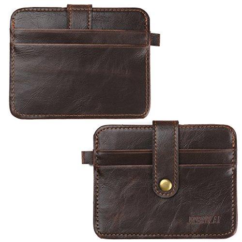Shaoyanger - Funda de piel sintética para tarjetas de crédito, tarjetero, bolsillo delgado, para hombre medium Deep Coffee