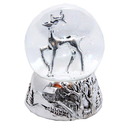 Minium Collection 20040 Schneekugel REH Silber Silber-Sockel Landschaft mit Spieluhr White Christmas Durchmesser 100mm