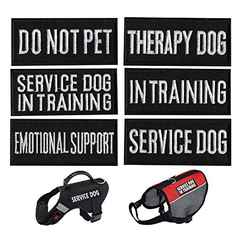Dog Vest Harness Patches, CheeseandU 6Pack Dog Removable Patches Backing-Service Dog, Service Dog in Training, Do Not Pet, Emotional Support, Therapy Dog, in Training Embroidered Morale Badge Patches