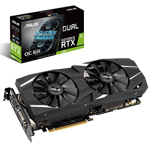 ASUS NVIDIA GeForce RTX 2060 DUAL OC 6G EVO Gaming Grafikkarte (PCIe 3.0, 6GB DDR6 Speicher, HDMI, Displayport, USB Type-C)