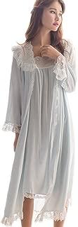 Womens Victorian Nightgown Vintage 2 pcs Sleepwear Nightdress Robes Royal Pajamas Lounge Wear