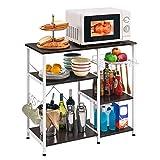 Mr IRONSTONE Kitchen Baker's Rack Utility Storage Shelf Microwave Stand 3-Tier+3-Tier Table for Spice Rack Organizer Workstation (35.5' Dark Brown)