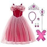 Disfraz de princesa de Aurora para niña, para carnaval, fiesta de cumpleaños, cosplay, de manga larga, largo hasta el suelo, para bailes o carnaval Rosa-6. 4-5 Años