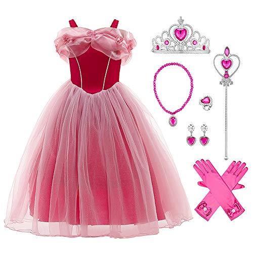 OBEEII Disfraz de Bella para nias, Vestido de Princesa Belle Durmiente Traje para Halloween Cosplay Compleanos Navidadpara nias aurora01 6-7 Aos