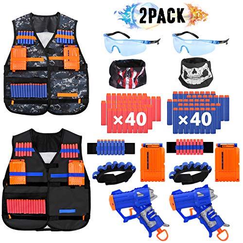 ISKYDRAW 2 PACK Kids Tactical Vest Kit for Nerf Guns N-Strike Elite Series with 2 Blaster Guns, 80Dart Bullets, 2 Tactical Vests, 2 Reload Clip, 2 Face Mask, 2 Wrist Band,2 Protective Glasses for Boys