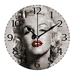 simono 10-inch Silent Non-Ticking Round Wall Clocks Gray and Red Marilyn Monroe Prints Desk Clock, Battery Operated Easy to Read Clock for Living Room Home Office