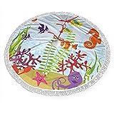 Base de la falda del árbol de Navidad, para acuario, cangrejo de mar, pulpo, alfombrilla de árbol de Navidad con borla, adornos para fiesta de 36 pulgadas
