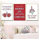 liwendi Merry Christmas Poster Print Habitación Infantil Hotel Studio Decoración Navideña Pintura 21X30Cmx3