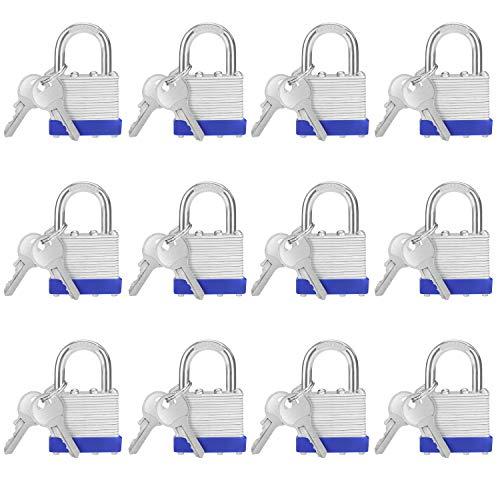 Belle Vous Stahl Vorhängeschloss Set Laminiert, Vorhänge Schloss mit 2 Schlüssel (12Stk) – 6mm Bügel 6,4x4,2x2,4cm Sicherheitsschloss Vorhängeschloss Wetterfest Innen/Außen Spindschloss mit Schlüssel