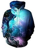 RAISEVERN Unisex Sweatshirts Réaliste 3D Imprimer Galaxy Pullover Sweat à Capuche avec Grande Poche pour Couple/Sœurs/Frères,Nébuleuse 2,L