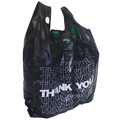 100x Tragetüte schwarz Hemdchentragetasche Tragetasche Plastiktüte THANK YOU 54x28+12cm 24my 15l