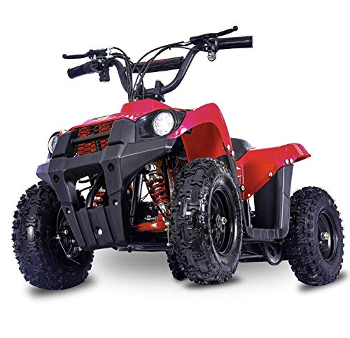 FIT Right Monster 36Volt 500Watt Electric Mini ATV Kids 4 Wheeler Kids Quad Off Road Vehicle with Reverse and Working Headlight. (Red)