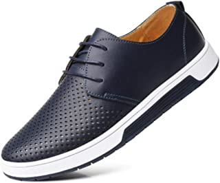 ZOZOE Men Casual PU Fashion Shoes Breathable Loafers Lace-up Flat Sneakers for Office Vintage Work Dress