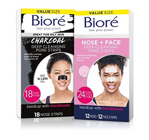 Bioré Nose+Face 24ct Pore Strips with Bioré Charcoal 18ct Nose Strips