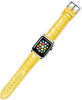 Debeer Replacement Watch Strap - Crocodile Grain - Yellow - Fits 42mm Apple Watch [Silver Adapters]