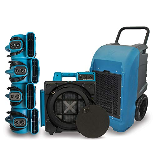 XD-125 Commercial Water Flood Damage Restoration Package for Home Garage Basements Restrooms Restaurants Crawl Spaces-Includes 4 Mini Air Movers,Dehumidifier,Mini HEPA Air Scrubber-Blue