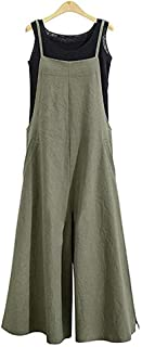 Aedvoouer Women's Baggy Plus Size Overalls Jumpsuits Wide Leg Harem Pants Casual Rompers