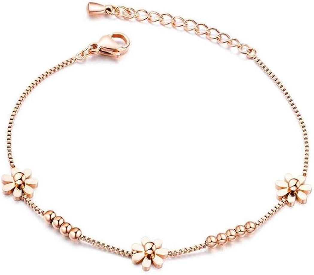 Rose Gold Bracelet for Her Girls Women Teens Mother Friendship Love Gift Stainless Steel Double Stranded Link Chain Wristband Bangle